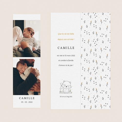 Faire-Part Naissance Fille UNICEF Totem Animaux gratuit