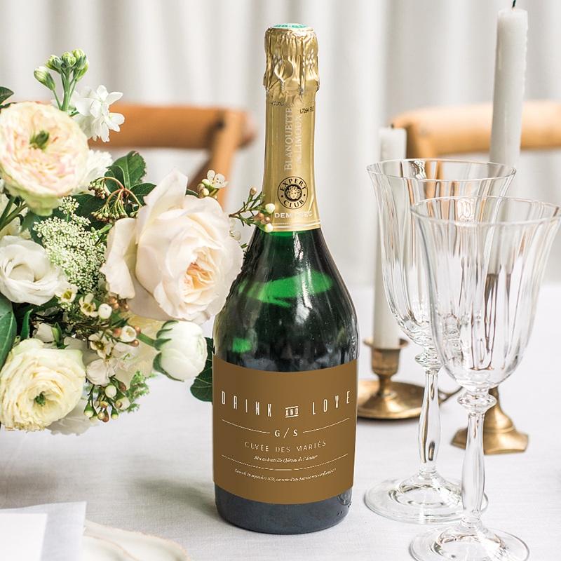 Etiquette Bouteille Champagne Lin & Moutarde gratuit