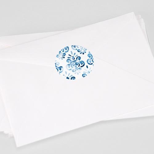 Etiquette Autocollante Mariage Azulejos Bleus
