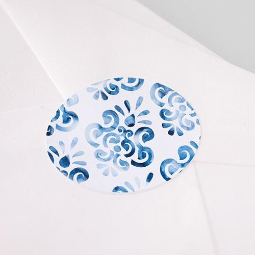 Etiquette Autocollante Mariage Azulejos Bleus pas cher