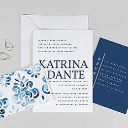 Faire-part mariage bleu Azulejos Bleus
