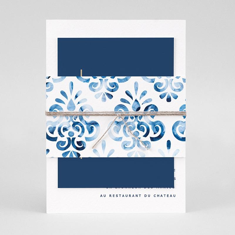 Faire-Part Mariage Bleu Azulejos Bleus pas cher