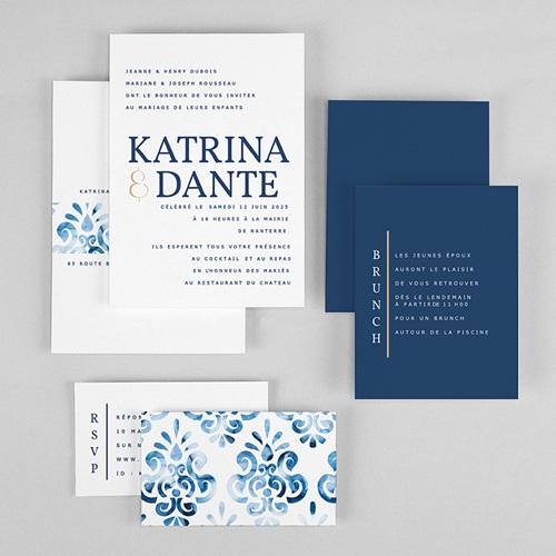 Faire-Part Mariage Bleu Azulejos Bleus gratuit