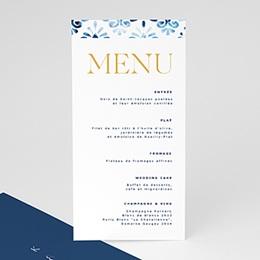 Menu mariage Azulejos Bleus