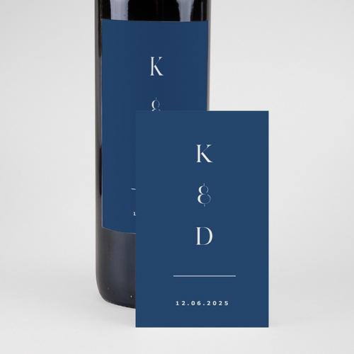 Étiquette bouteille mariage vin Azulejos Bleus pas cher