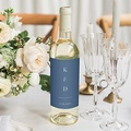 Étiquette bouteille mariage vin Azulejos Bleus
