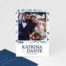 Carte remerciement mariage photo Azulejos Bleus