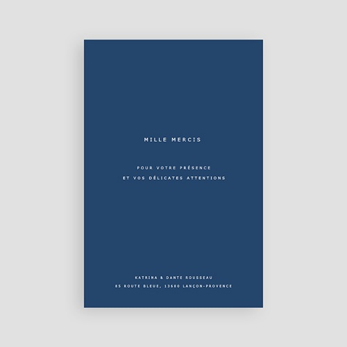 Carte remerciement mariage photo Azulejos Bleus pas cher