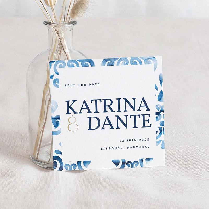 Save The Date Mariage Azulejos Bleus, 10 x 10 cm