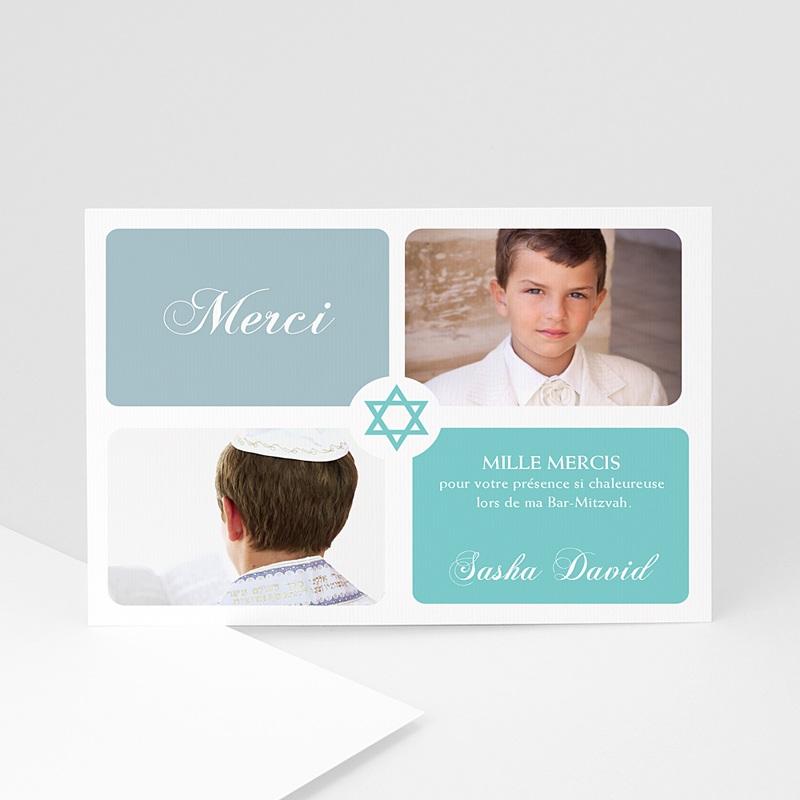 Carte remerciement bar-mitzvah Mazal Tov bleu ciel