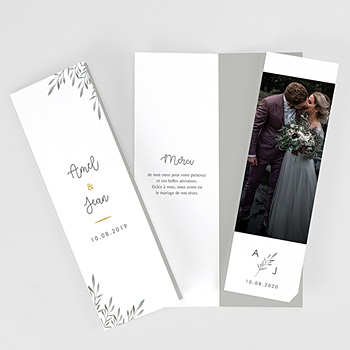Carte remerciement mariage champêtre Rameaux Aquarelle
