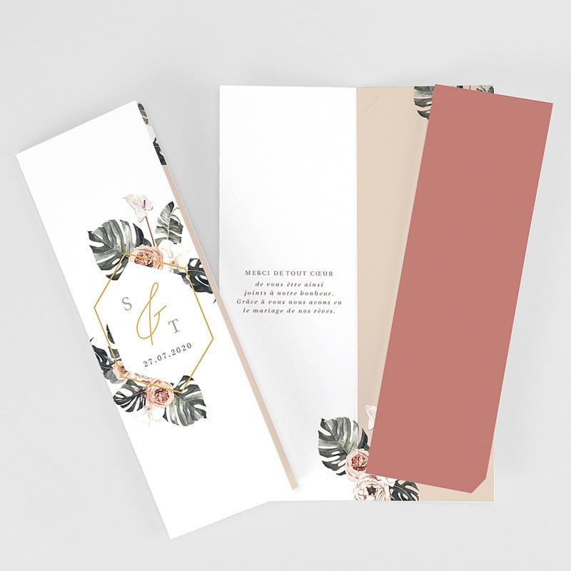 Carte Remerciement Mariage Champêtre Bohème Tropical Pochette