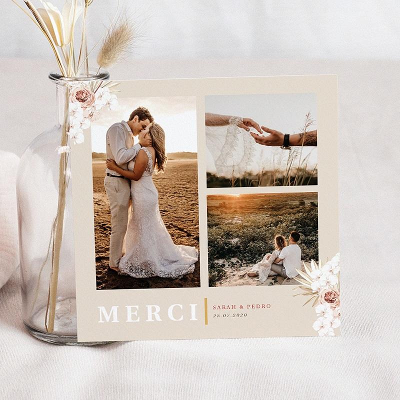 Carte remerciement mariage boheme Carré Bohème 3 photos