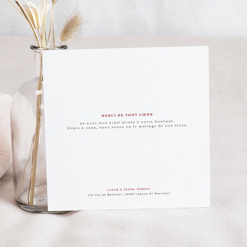 Carte remerciement mariage boheme Carré Bohème 3 photos pas cher