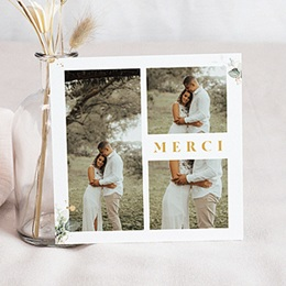 Carte remerciement mariage champêtre Carré Champêtre 3 photos