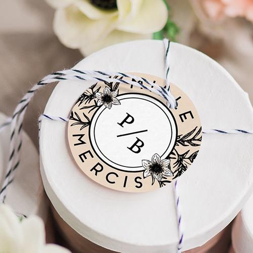 Etiquette mariage Black Flowers Pastel gratuit