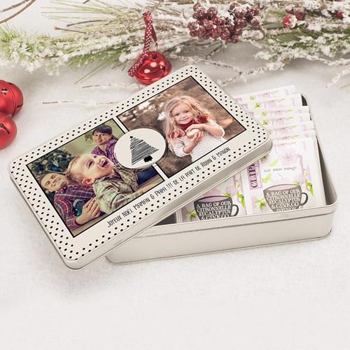 Boîte Personnalisée Photo Sapins & Petits Pois pas cher