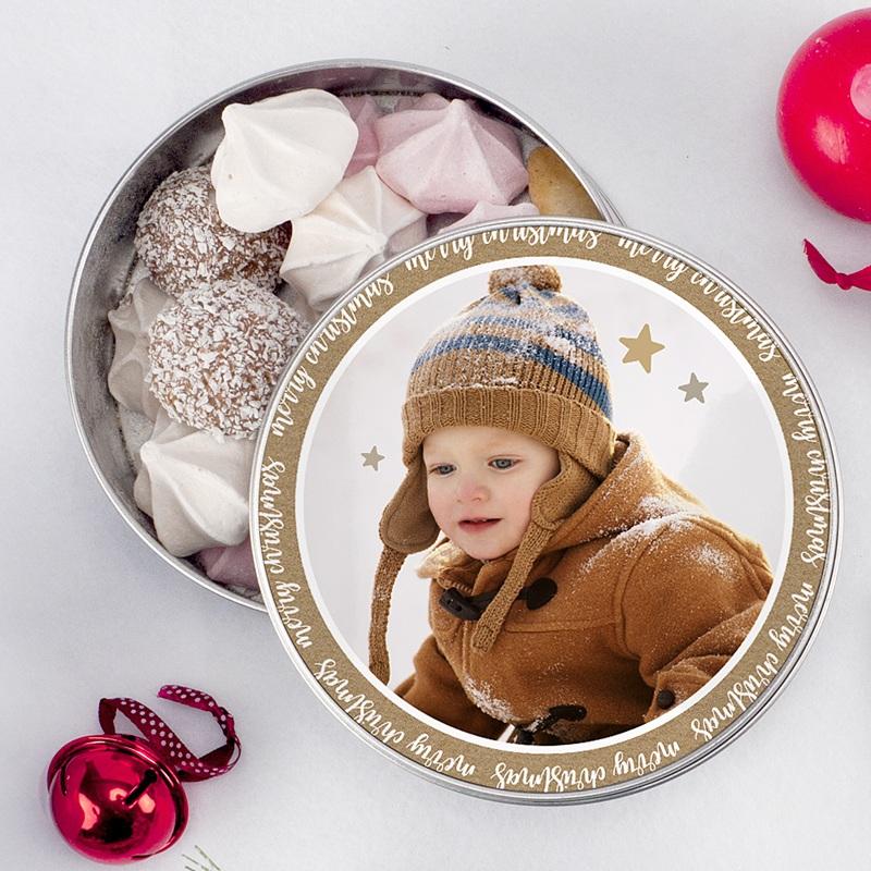 Boîte Personnalisée Photo Merry Christmas & Kraft pas cher