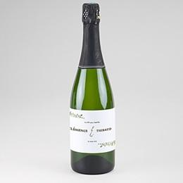 Etiquette bouteille champagne Cadre Feuillage