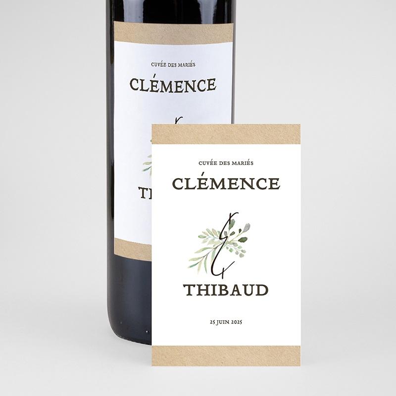 Étiquette bouteille mariage vin Cadre Feuillage pas cher