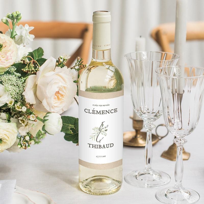 Étiquette bouteille mariage vin Cadre Feuillage