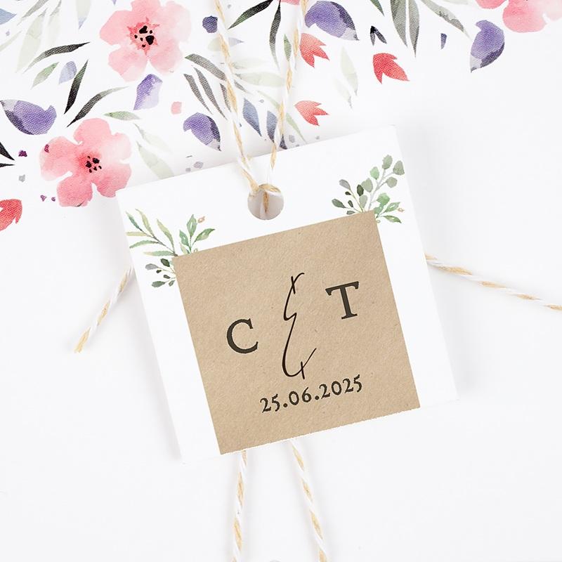 Etiquette Cadeau Mariage Cadre Feuillage gratuit
