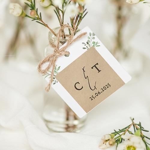 Etiquette Cadeau Mariage Cadre Feuillage