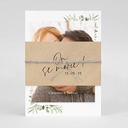 Faire-part mariage champêtre Cadre Feuillage