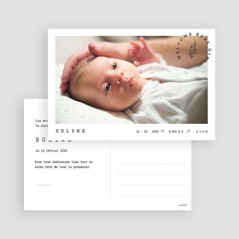 Faire-Part Naissance Fille Carte postale bébé gratuit