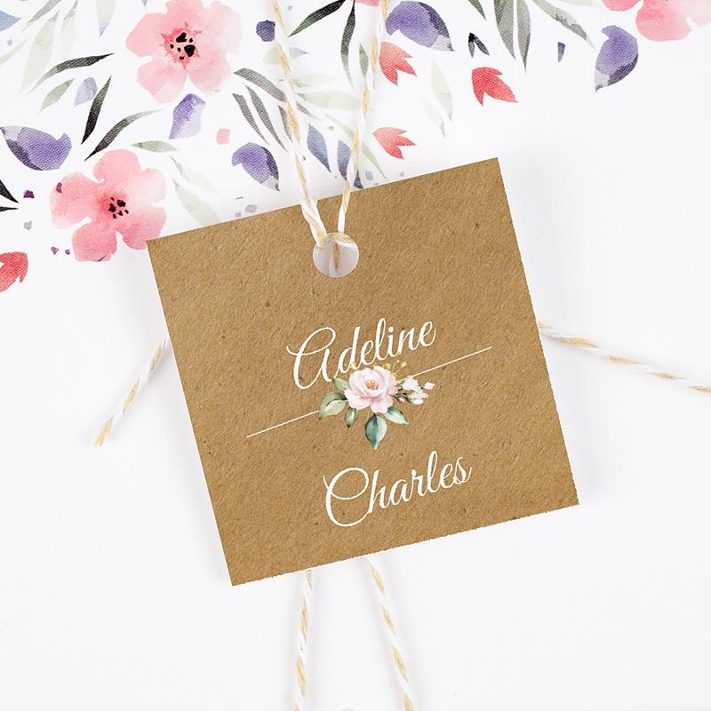Etiquette Cadeau Mariage Romantique Kraft gratuit