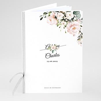 Livret messe mariage Romantique Kraft et Fleurs personnalisable