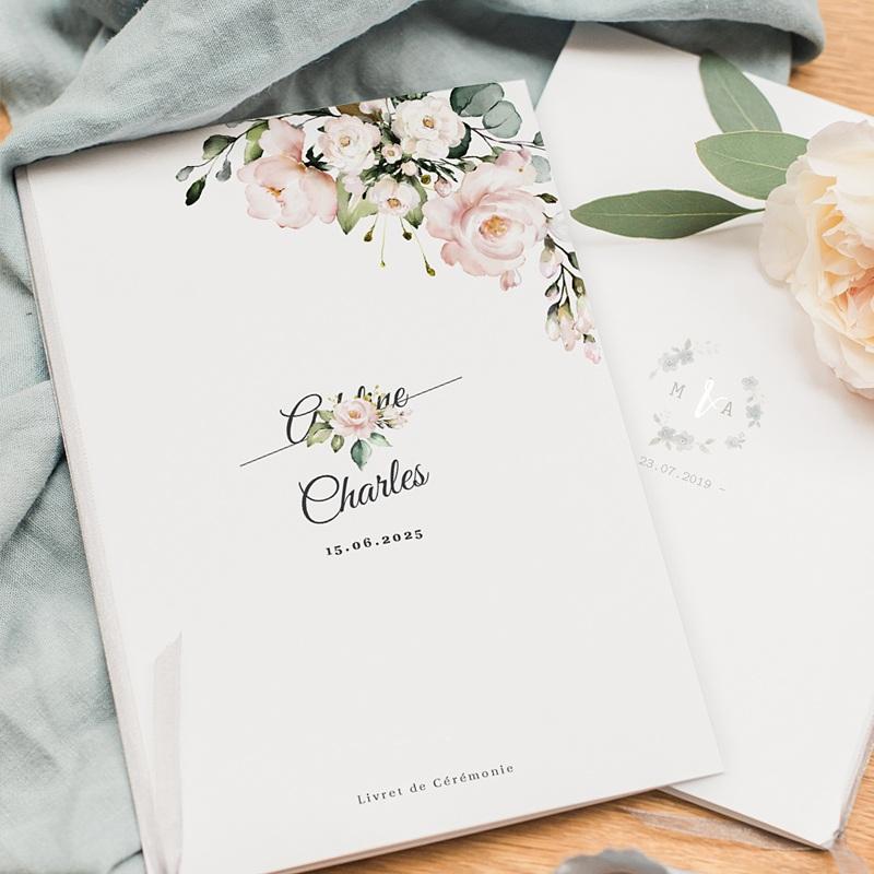 Livret Messe Mariage Romantique Kraft & Fleurs pas cher