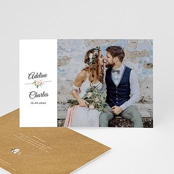 Carte remerciement mariage champêtre Romantique Kraft