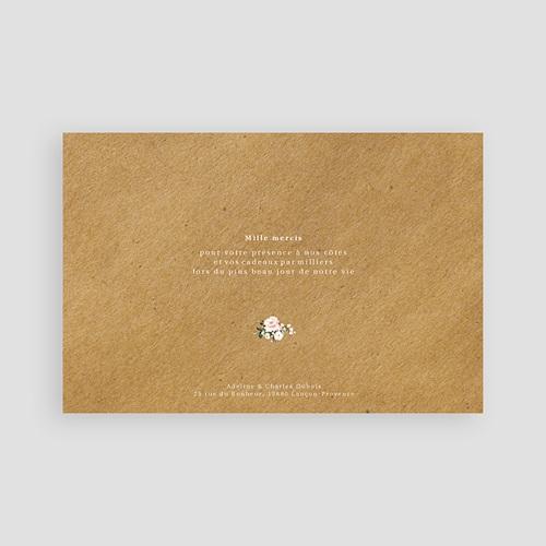 Carte Remerciement Mariage Champêtre Romantique Kraft pas cher