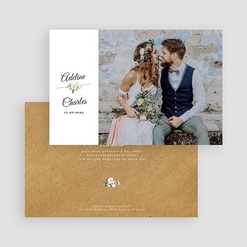 Carte Remerciement Mariage Champêtre Romantique Kraft gratuit