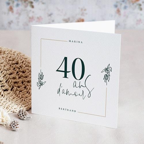 Carte Invitation Anniversaire Mariage 40 ans Emeraude | Echantillon offert | Carteland