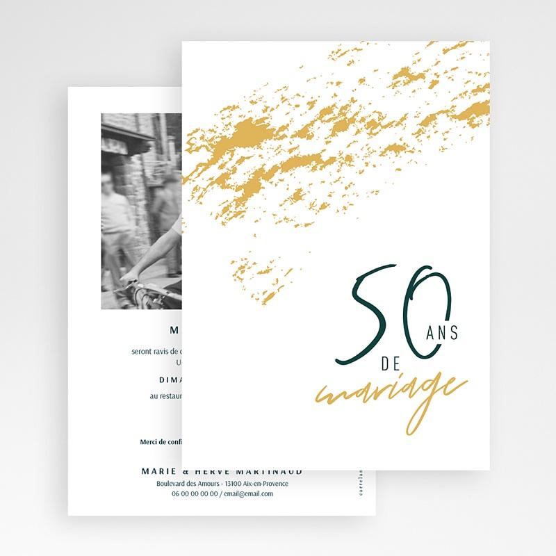 Carte Invitation Anniversaire Mariage 50 Ans D Amour Echantillon Offert Carteland