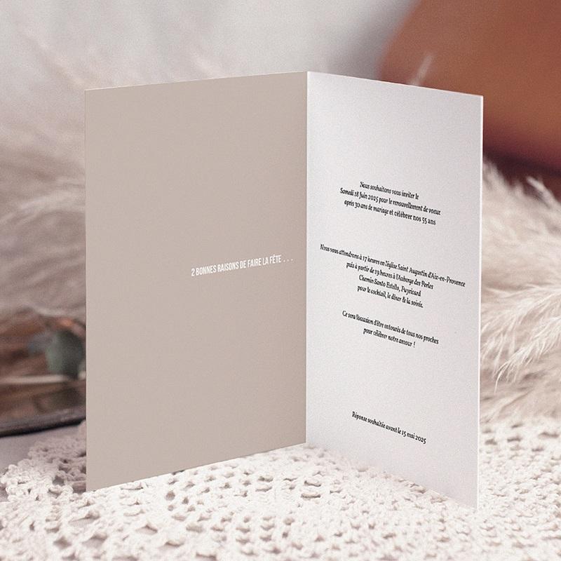 Carte Invitation Anniversaire Mariage Renouvellement Voeux pas cher