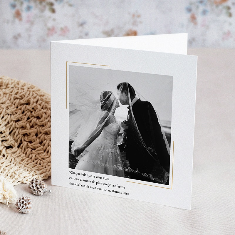 Carte Invitation Anniversaire Mariage Noces diamant - 60 ans