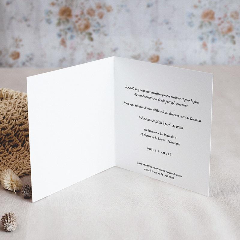 Carte Invitation Anniversaire Mariage Noces diamant - 60 ans pas cher