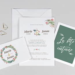 Faire-part mariage original Couronne Tropicale