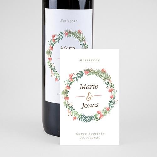 Étiquette bouteille mariage vin Couronne Tropicale pas cher