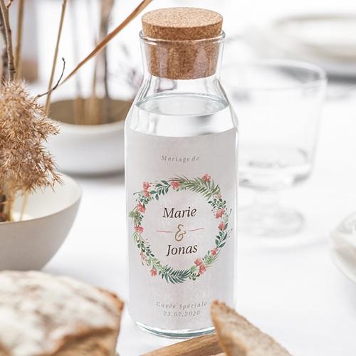 Étiquette bouteille mariage vin Couronne Tropicale gratuit