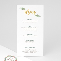 Menu mariage Couronne Tropicale Menu Or