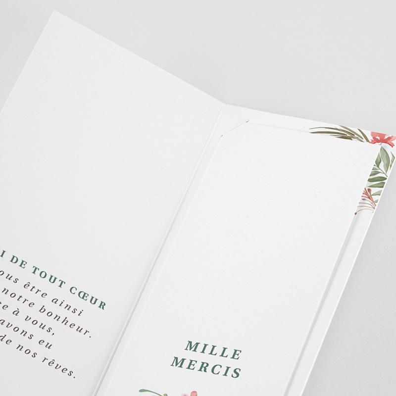 Carte Remerciement Mariage Champêtre Couronne Tropicale Pochette pas cher