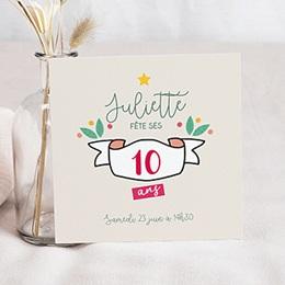 Carte Invitation Anniversaire Enfant - Floral Tropical 10 ans 80328