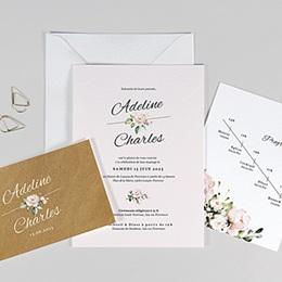 Faire-Part Mariage Champêtre - Romantique Kraft 3 cartes - 0