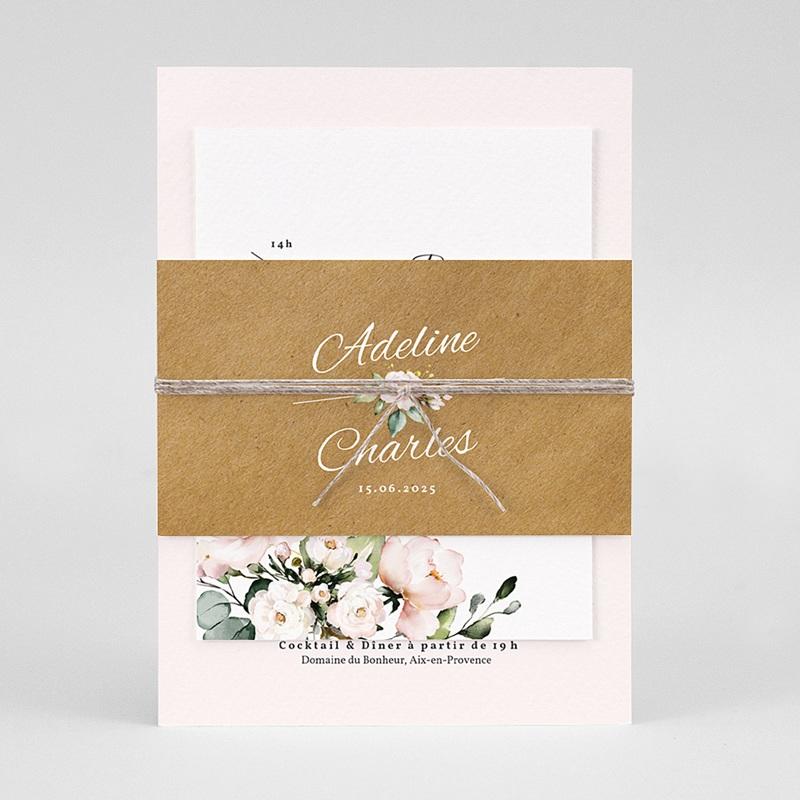 Faire-Part Mariage Champêtre Romantique Kraft 3 cartes pas cher