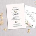 Faire-Part Mariage Champêtre Romantique Kraft 3 cartes