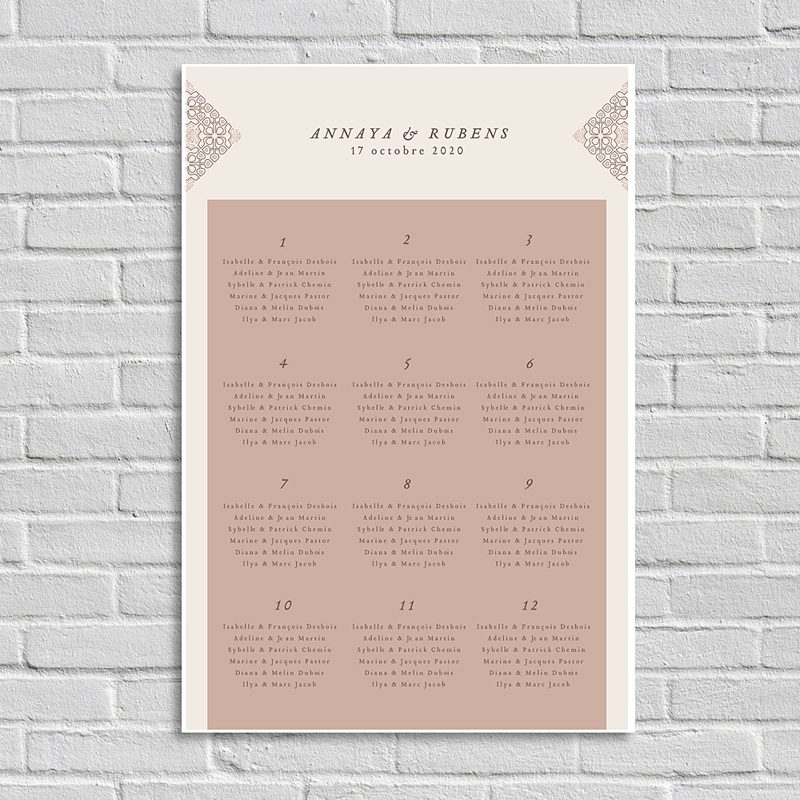 Plan Table Mariage Style Mauresque